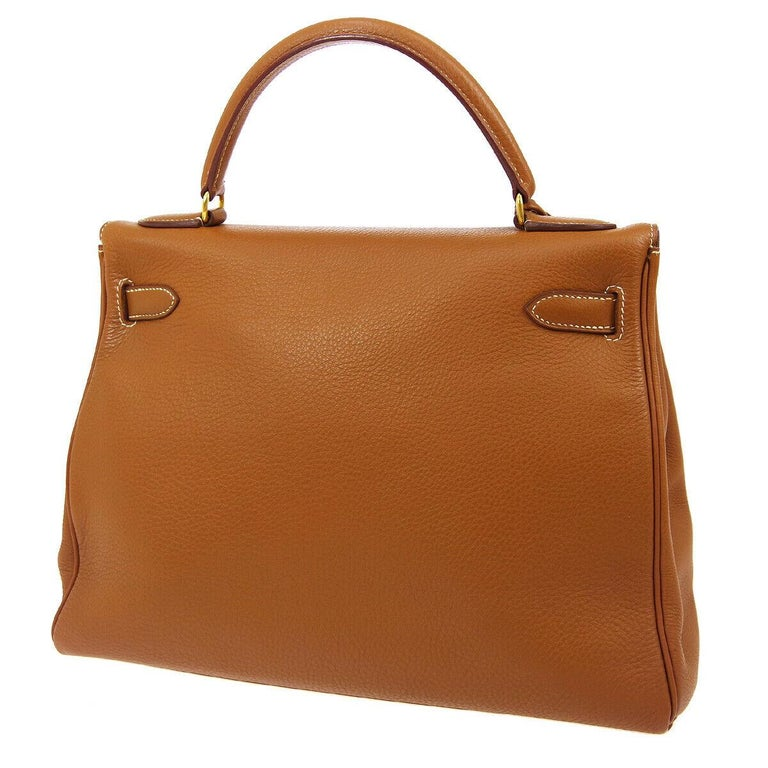 Hermes Kelly 32 Cognac Leather Top Handle Satchel Shoulder Tote Bag  In Good Condition For Sale In Chicago, IL