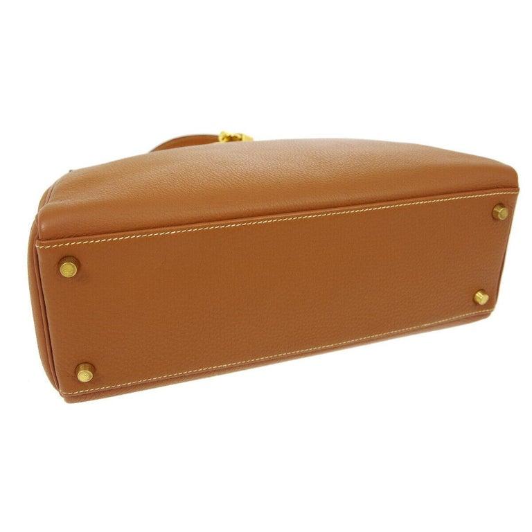 Hermes Kelly 32 Cognac Leather Top Handle Satchel Shoulder Tote Bag  For Sale 1