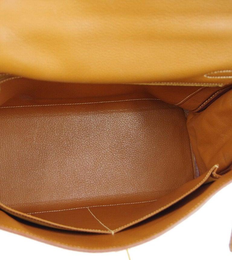 Hermes Kelly 32 Cognac Leather Top Handle Satchel Shoulder Tote Bag  For Sale 2