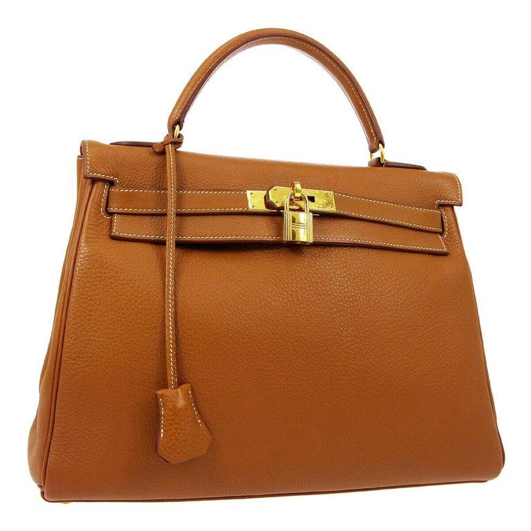 Hermes Kelly 32 Cognac Leather Top Handle Satchel Shoulder Tote Bag  For Sale