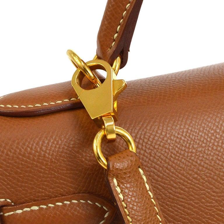 9cbd0e5e74779 Hermes Kelly 32 Cognacbraun Leder Gold Griff an der Oberseite Tornister  Umhängetasche 3