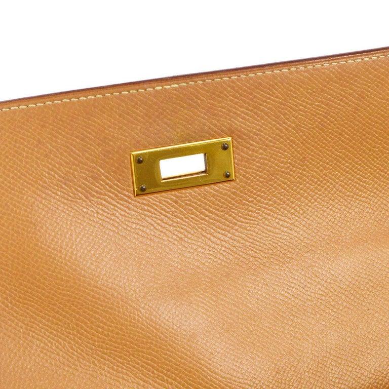 Brown Hermes Kelly 32 Cognac Tan Leather Gold Top Handle Satchel Shoulder Bag For Sale
