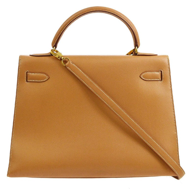 Hermes Kelly 32 Cognac Tan Leather Gold Top Handle Satchel Shoulder Bag In Good Condition For Sale In Chicago, IL