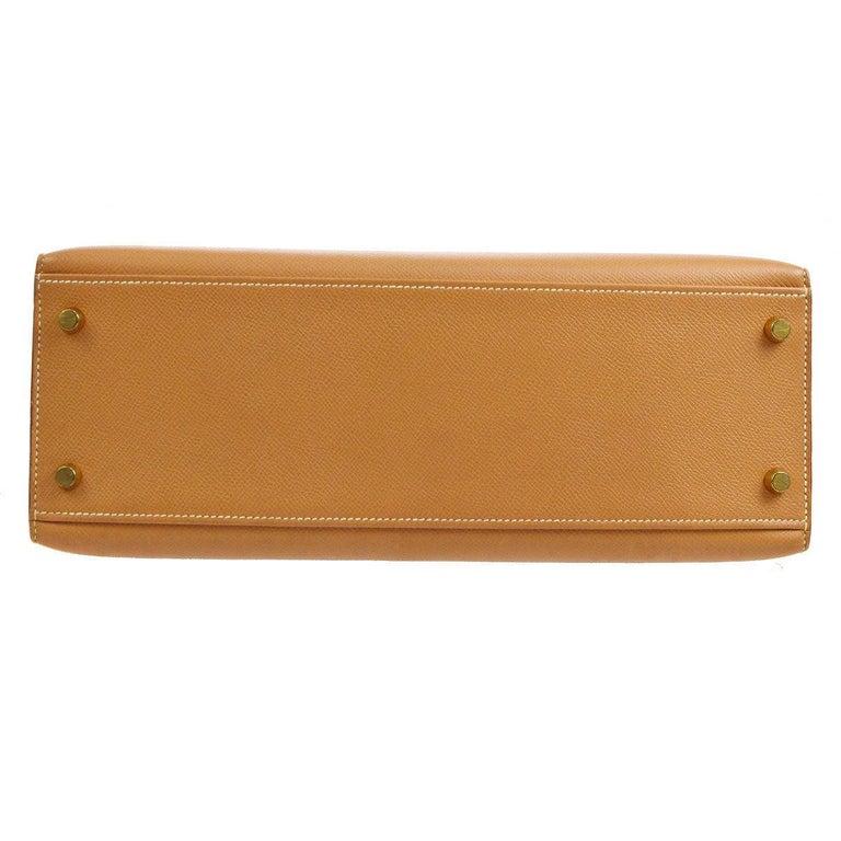 Women's Hermes Kelly 32 Cognac Tan Leather Gold Top Handle Satchel Shoulder Bag For Sale