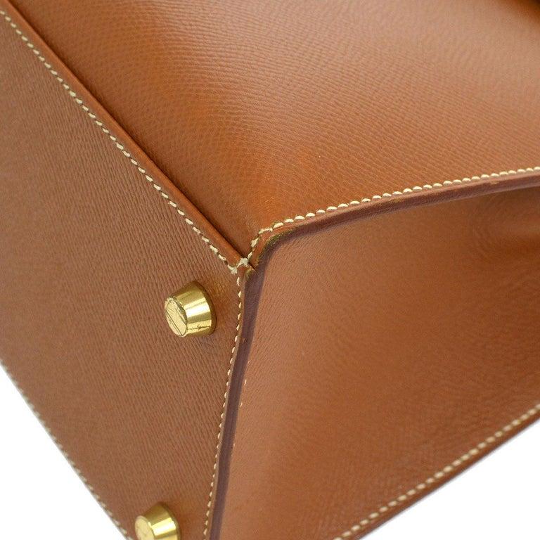 7f614244e0f42 Hermes Kelly 32 Cognacbraun Leder Gold Griff an der Oberseite Tornister  Umhängetasche 6