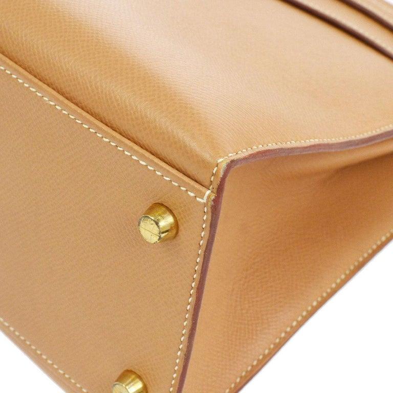 Hermes Kelly 32 Cognac Tan Leather Gold Top Handle Satchel Shoulder Bag For Sale 1