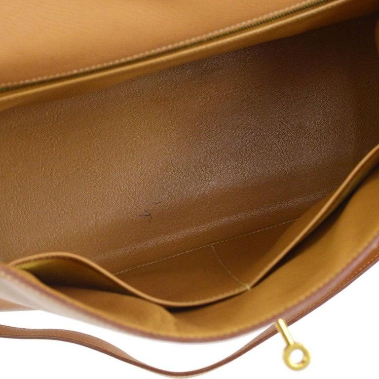 Hermes Kelly 32 Cognac Tan Leather Gold Top Handle Satchel Shoulder Bag For Sale 2