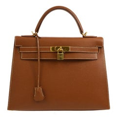Hermes Kelly 32 Cognac Tan Leather Gold Top Handle Satchel Shoulder Bag