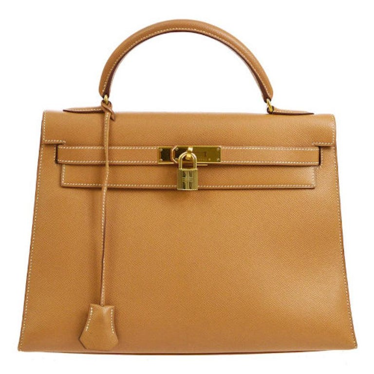 Hermes Kelly 32 Cognac Tan Leather Gold Top Handle Satchel Shoulder Bag For Sale