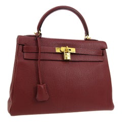 Hermes Kelly 32 Cranberry Red Gold Top Handle Satchel Shoulder Tote Bag