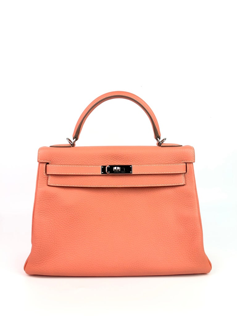 Hermes Kelly 32 Crevette Pink Orange Togo Palladium Hardware. Q Stamp 2013. Excellent Condition, light hairlines on Hardware, Excellent corners and good Structure.   Shop with Confidence from Lux Addicts. Authenticity Guaranteed!