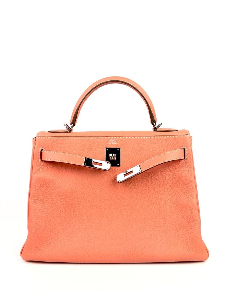 Hermes Kelly 32 Crevette Orange Pink Palladium Hardware  In Excellent Condition For Sale In Miami, FL