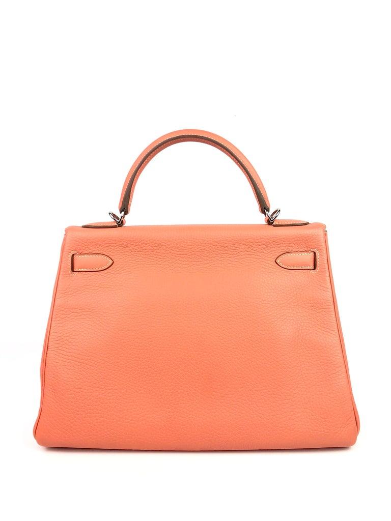 Women's or Men's Hermes Kelly 32 Crevette Orange Pink Palladium Hardware  For Sale