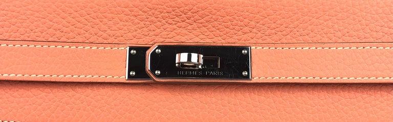 Hermes Kelly 32 Crevette Orange Pink Palladium Hardware  For Sale 1