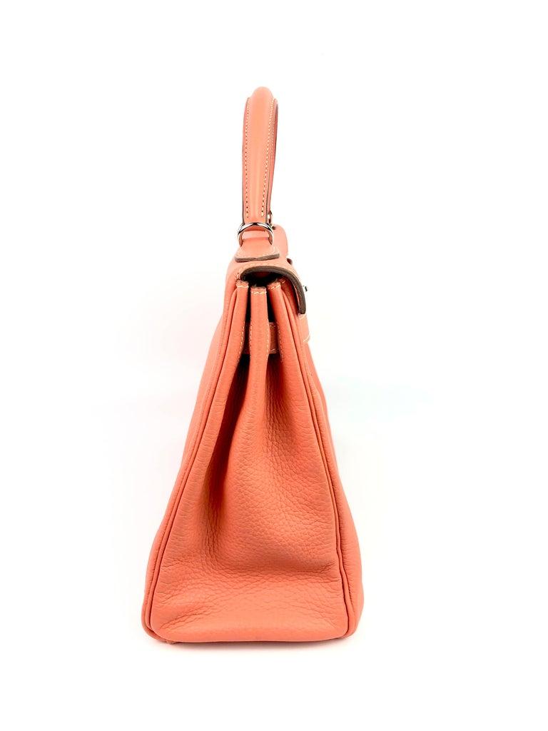 Hermes Kelly 32 Crevette Orange Pink Palladium Hardware  For Sale 3