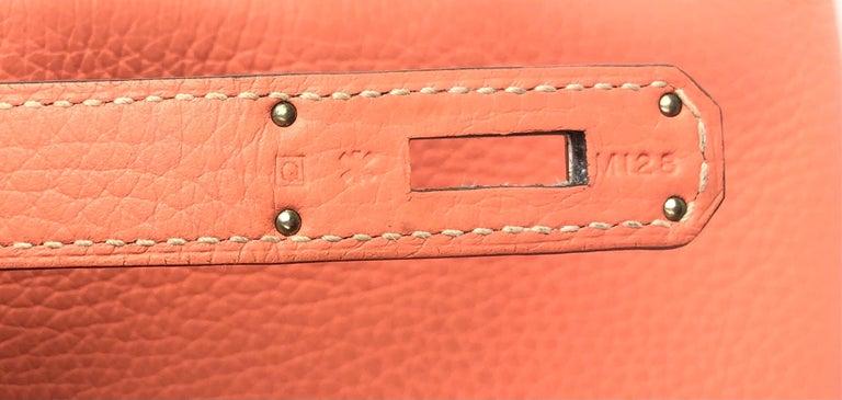 Hermes Kelly 32 Crevette Orange Pink Palladium Hardware  For Sale 4