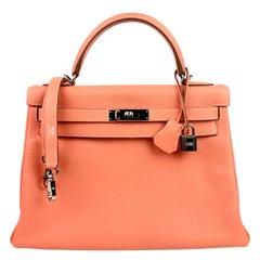 Hermes Kelly 32 Crevette Orange Pink Palladium Hardware