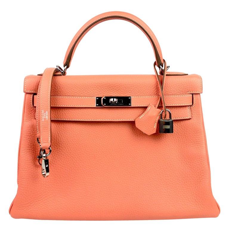 Hermes Kelly 32 Crevette Orange Pink Palladium Hardware  For Sale