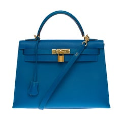 Hermès Kelly 32 handbag with strap in turquoise blue epsom leather, GHW
