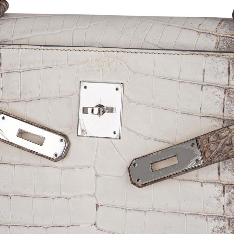 Hermes Kelly 32 Himalaya Crocodile Palladium Hardware Limited Edition Rare In Excellent Condition For Sale In Miami, FL