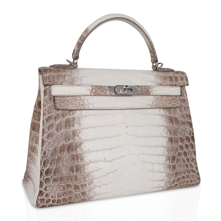 Women's Hermes Kelly 32 Himalaya Crocodile Palladium Hardware Limited Edition Rare For Sale
