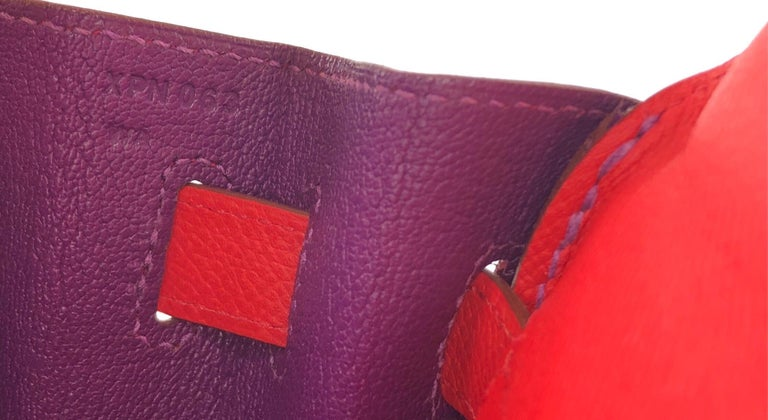 Hermes Kelly 32 HSS Special Order Rouge Pivoine Red Anemone Purple Gold Hardware For Sale 6