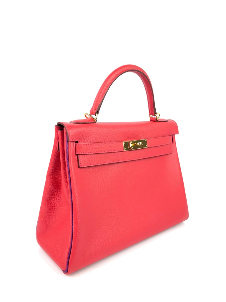 Hermes Kelly 32 HSS Special Order Rouge Pivoine Red Anemone Purple Piping and Interior Epsom Leather & Gold Hardware. 2016 X Stamp. Excellent Pristine Condition, light hairlines on Hardware, Excellent corners and structure.  Shop with Confidence