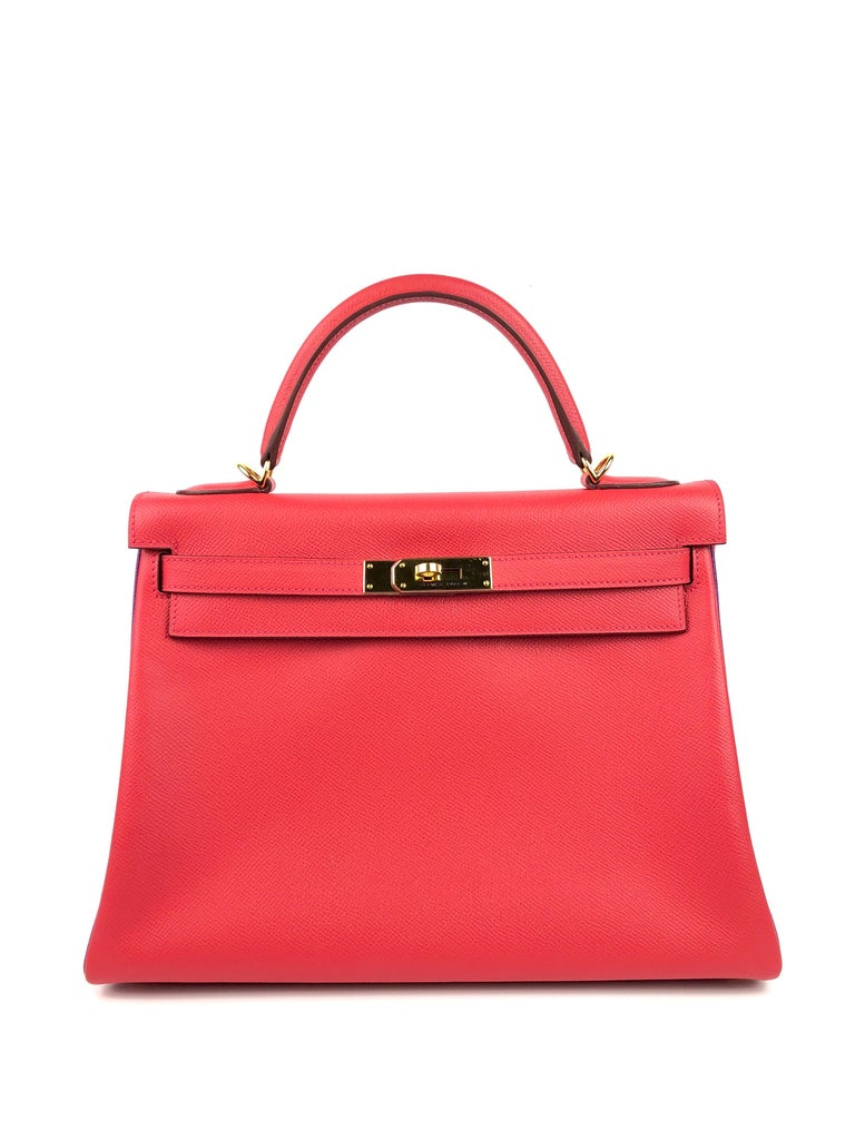 Hermes Kelly 32 HSS Special Order Rouge Pivoine Red Anemone Purple Gold Hardware In Excellent Condition For Sale In Miami, FL