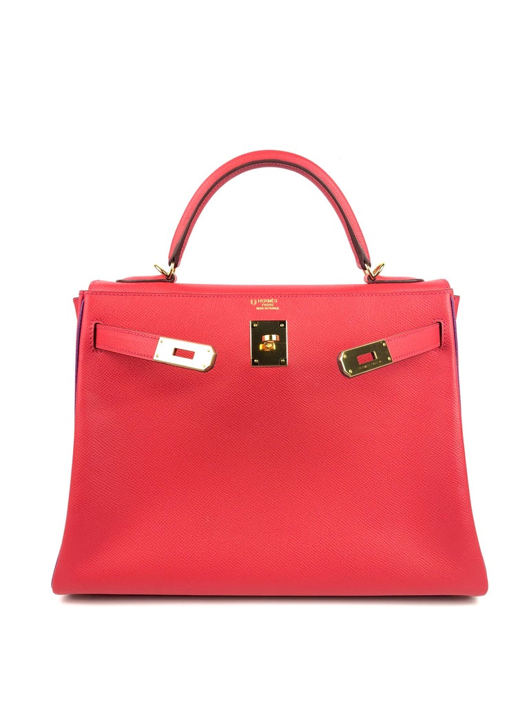 Women's or Men's Hermes Kelly 32 HSS Special Order Rouge Pivoine Red Anemone Purple Gold Hardware For Sale