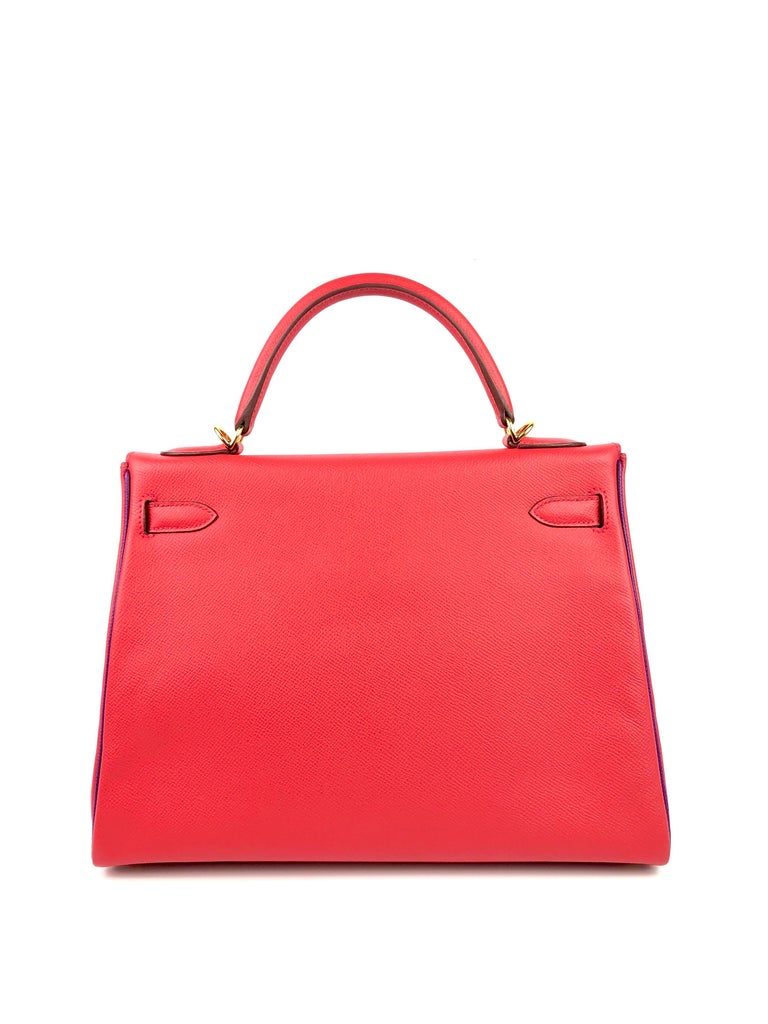 Hermes Kelly 32 HSS Special Order Rouge Pivoine Red Anemone Purple Gold Hardware For Sale 1