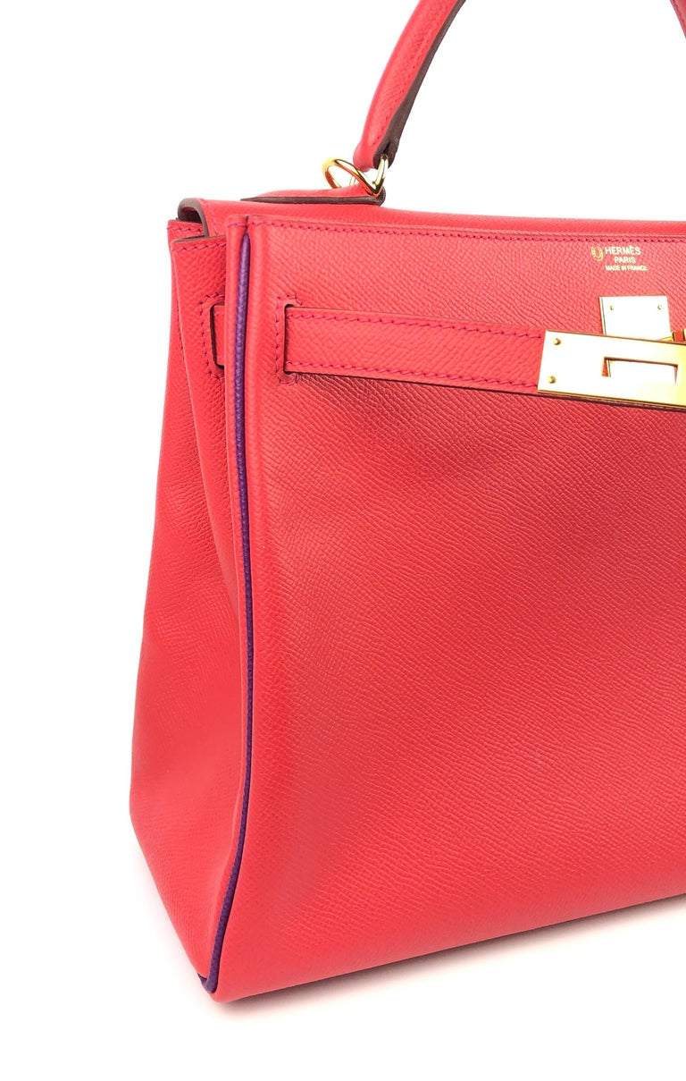 Hermes Kelly 32 HSS Special Order Rouge Pivoine Red Anemone Purple Gold Hardware For Sale 2