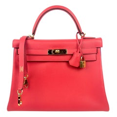 Hermes Kelly 32 HSS Special Order Rouge Pivoine Red Anemone Purple Gold Hardware