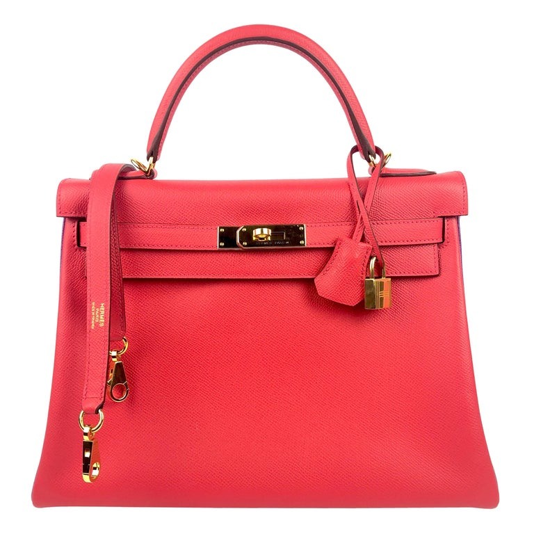 Hermes Kelly 32 HSS Special Order Rouge Pivoine Red Anemone Purple Gold Hardware For Sale