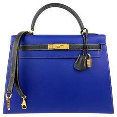 Hermes Kelly 32 HSS Special Order Sellier Epsom Blue Electric Black Gold Hwr