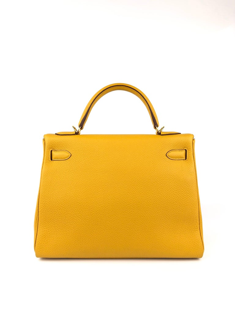 Women's or Men's Hermes Kelly 32 Jaune Ambre Yellow Togo Gold Hardware 2018 For Sale