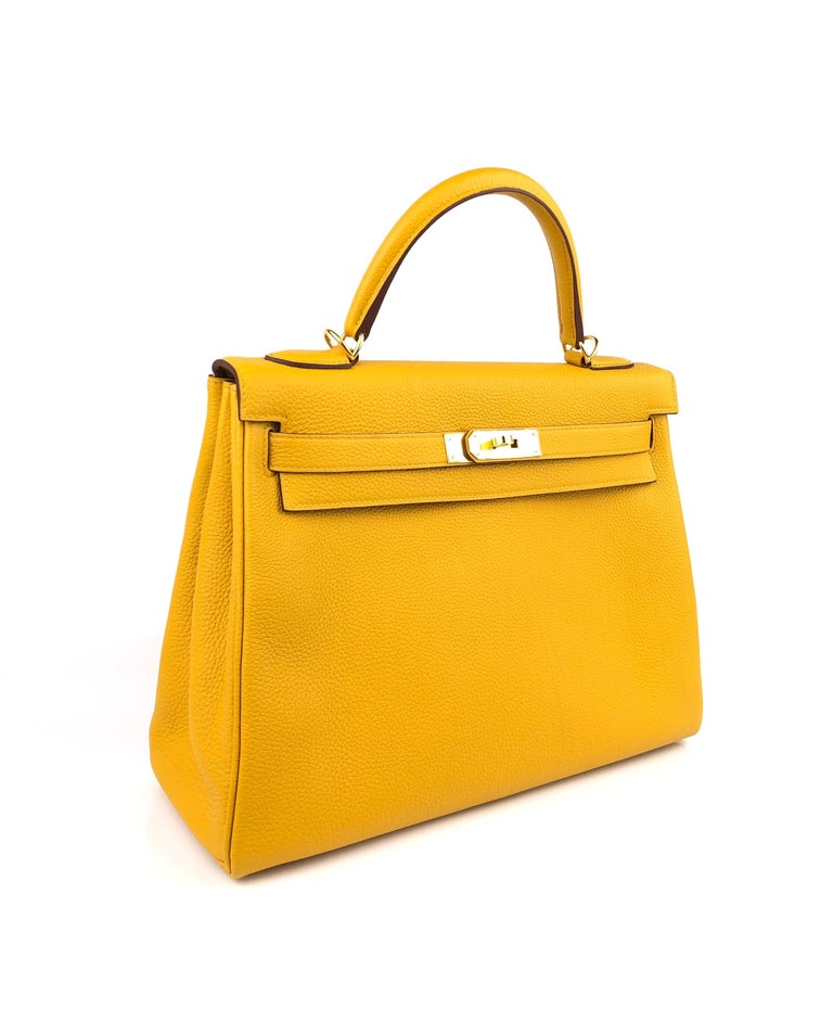 Hermes Kelly 32 Jaune Ambre Yellow Togo Gold Hardware 2018 For Sale 1