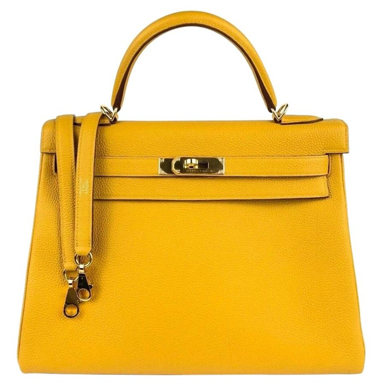 Hermes Kelly 32 Jaune Ambre Yellow Togo Gold Hardware 2018 For Sale