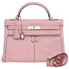 Hermes Kelly 32 Lakis Bag Rose Sakura Swift Palladium Hardware
