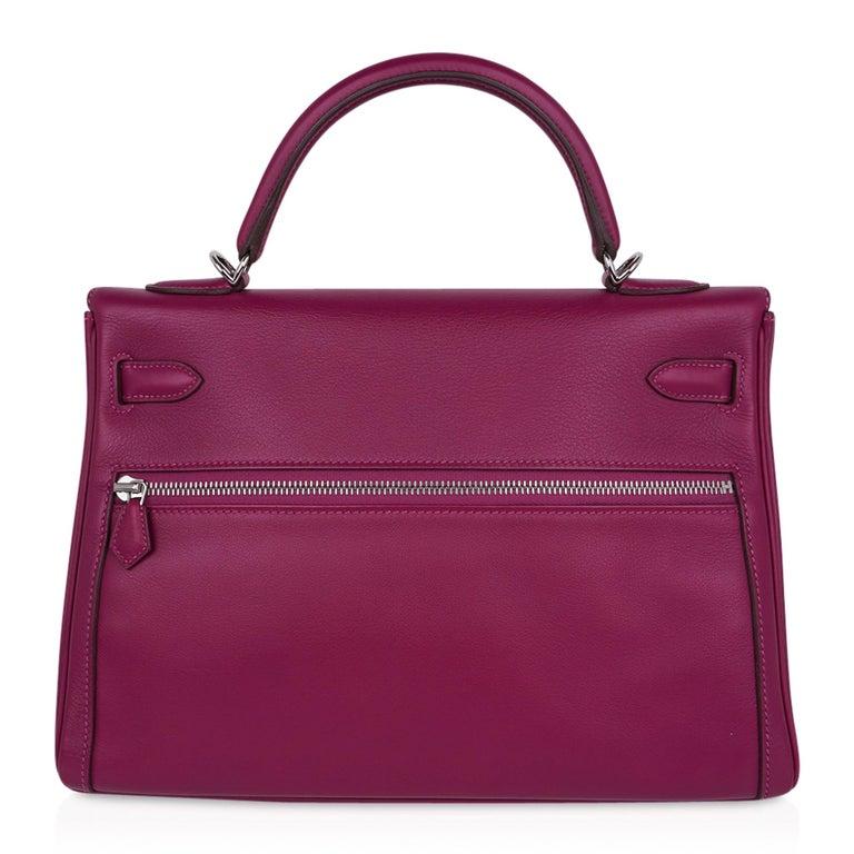 Hermes Kelly 32 Lakis Bag Tosca Swift Palladium Hardware nEW For Sale 8