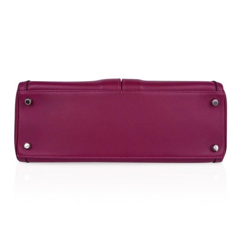Hermes Kelly 32 Lakis Bag Tosca Swift Palladium Hardware nEW For Sale 9