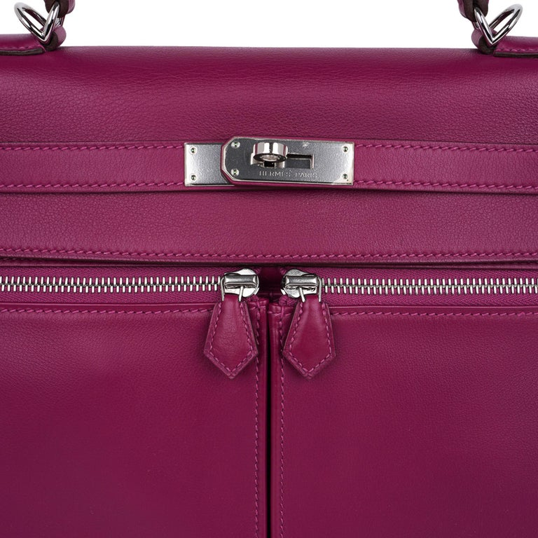 Purple Hermes Kelly 32 Lakis Bag Tosca Swift Palladium Hardware nEW For Sale