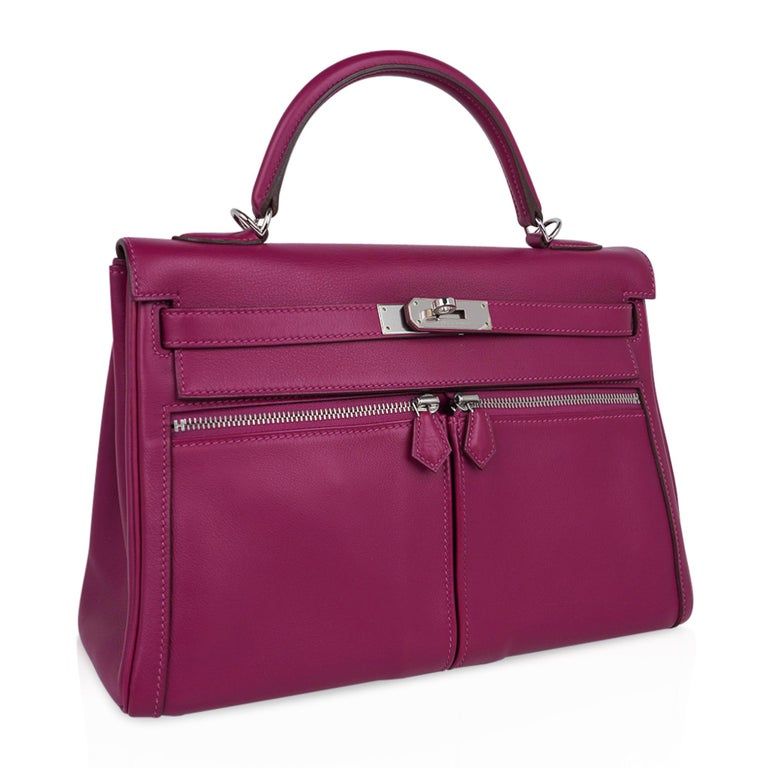 Women's Hermes Kelly 32 Lakis Bag Tosca Swift Palladium Hardware nEW For Sale