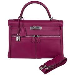 Hermes Kelly 32 Lakis Bag Tosca Swift Palladium Hardware nEW