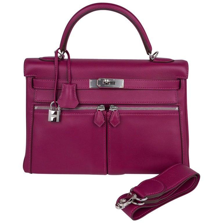 Hermes Kelly 32 Lakis Bag Tosca Swift Palladium Hardware nEW For Sale