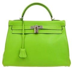 Hermes Kelly 32 Neon Leather Palladium Top Handle Satchel Tote Bag