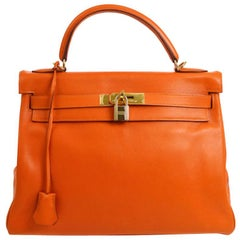 Hermes Kelly 32 Orange Leather Gold Top Handle Satchel Evening Kelly Bag