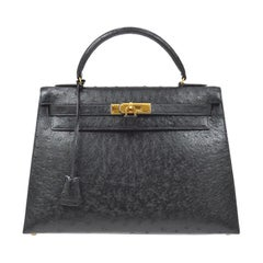 Hermes Kelly 32 Ostrich Exotic Black Gold Top Handle Tote Satchel Shoulder Bag