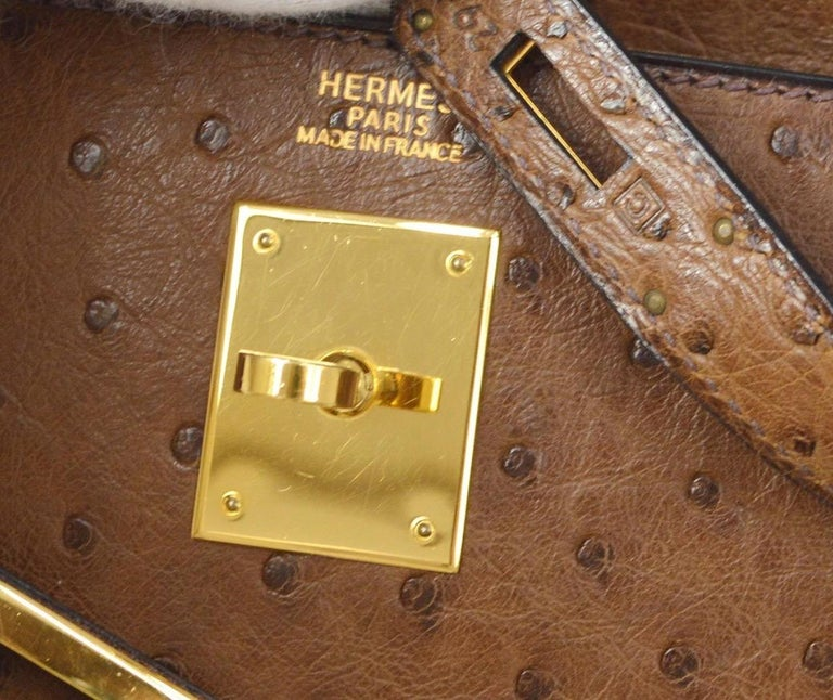 Hermes Kelly 32 Ostrich Exotic Brown Gold Top Handle Satchel Shoulder Bag  In Good Condition For Sale In Chicago, IL