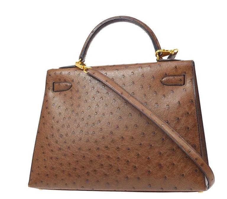 Women's Hermes Kelly 32 Ostrich Exotic Brown Gold Top Handle Satchel Shoulder Bag  For Sale