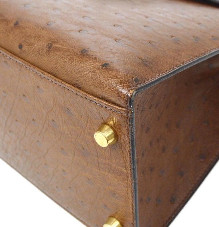 Hermes Kelly 32 Ostrich Exotic Brown Gold Top Handle Satchel Shoulder Bag  For Sale 1